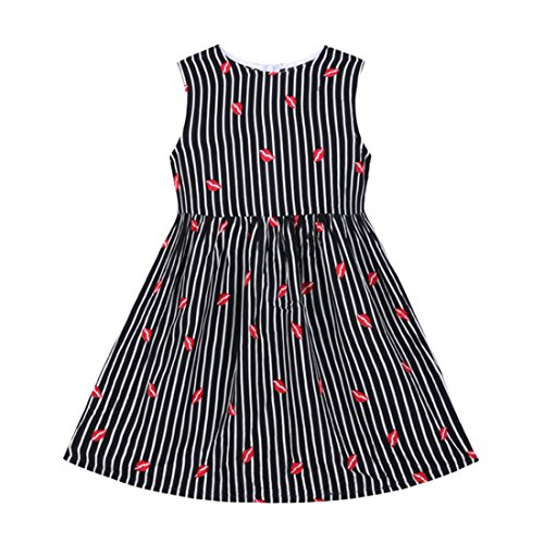 Moon Kitty Girls 100% Cotton Flower Print Dresses Casual Summer Dress (Special Dress Occasion)