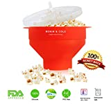 Collapsible Silicone Microwave Popcorn Popper / Maker - Reusable Popcorn Bowl With Handles & Lid for Home Use, Food Grade Quality, Certified BPA PVC Free