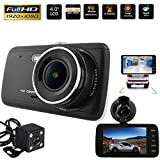 Dash Cam Front and Rear Dual Camera for Cars, 4.0'' HD 1080P Car
