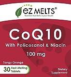 EZ Melts CoQ10 100 mg Dissolving Vitamins Zero Sugar Natural Orange Flavor 30 Fast Melting Tablets CoQ10 Supplement Discount