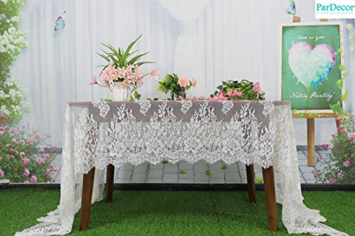 French Floral Robe - ParDecor Wedding Lace-Tablecloth 60x120-Inch French Chantilly Lace Scalloped Floral Motifs in Off-White for Lace Kimono Bridal Robe Baptism Gown