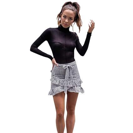 Mini falda de mujer a la moda, con volantes, falda de danza corta ...