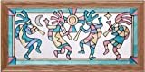 Southwest Hopi Kokopelli Dancers 22.5'' Wide x 11.5'' High Hand Painted Art Glass Panel
