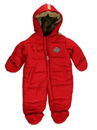 06b0616809db Amazon.com  London Fog Infant Boys Quilted Red Snowsuit Baby Pram ...