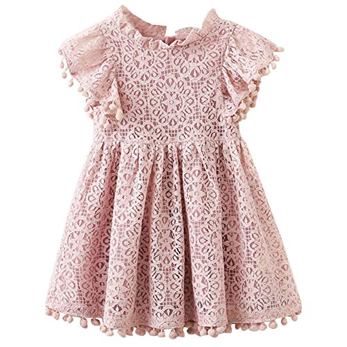 QIJOVO Baby Girl Vintage Lace Short Frill Sleeves Dress Flower Girls Skirt Birthday Party Princess Frilled Waist Dress ()