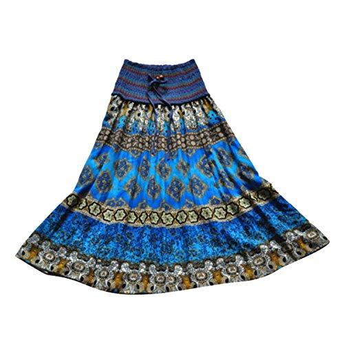 DEHANG Cotton Long Striped Maxi (Crinkle Ruffled Skirt)