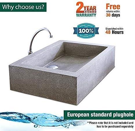 Lavabo de encimera de material de terrazo cuadrado de lujo, lavabo ...