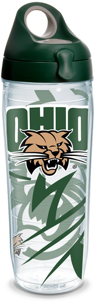 Tervis 1289639 Ohio Bobcats Insulated Tumbler with Wrap and Hunter Green with Gray Lid Clear 24oz Water Bottle