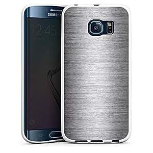 Carcasa Design Funda para Samsung Galaxy S6 Edge Silicone Case white - Metal Look - Silber