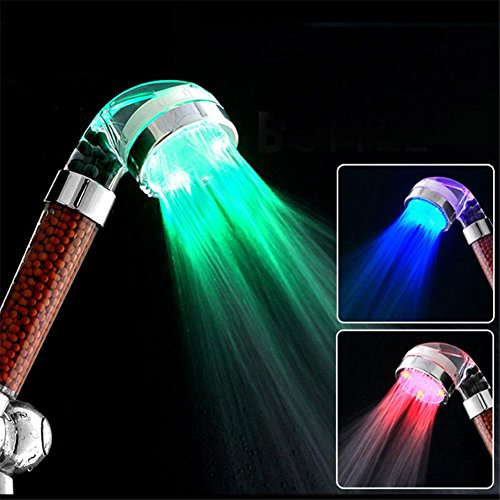 HomJo 8 inch 304 Stainless Steel Polished Chrome Premium Led Showerhead- High Flow Rain Fixed Showerhead, 3 Colors Change Led -