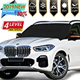 [2019 Newest] Windshield Snow Ice Cover Magnetic Large Car Windshield Snow Cover Magnetic Large Car Covers with 4 Layovers with 4 Layers Material Protection- Fit Any Car, SUV Truck Mirror Snow Covers