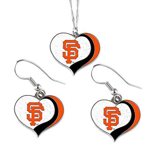 (aminco San Francisco Giants MLB Sports Team Logo Charm Gift Glitter Heart Necklace and Earring Set)