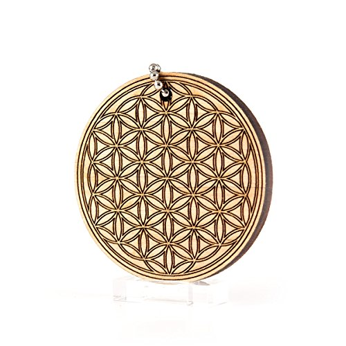 Flower Of Life Double Circle Geometric Pattern Wood Laser Cut Keychain Charm