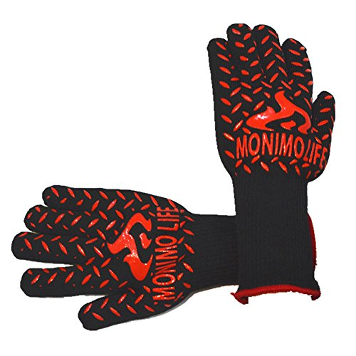Heat-Resistant Gloves 932°F(500℃) BBQ Cooking Gloves Oven Mitts for Grilling Safety ()
