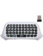 MoKo Xbox One Mini Green Hintergrundbeleuchtung Tastatur, 2.4G Empfänger Wireless Chatpad Message Game Tastatur, mit Headset und Audio Jack, für Xbox One S / Xbox One Elite Controller, Weiß
