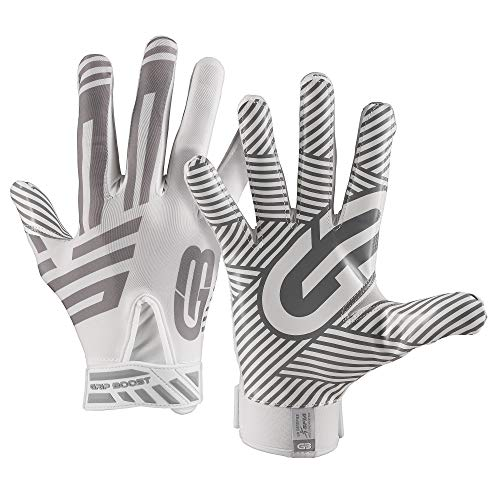 Grip Boost G-Force Football Gloves Youth and Adult Sizes (White, Large)