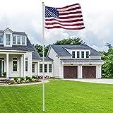 HomGarden 20FT Aluminum Flagpole 3'x5' US American Flag & Gold Ball Top Kit Hardware Commercial Outdoor Garden Halyard Flag Pole