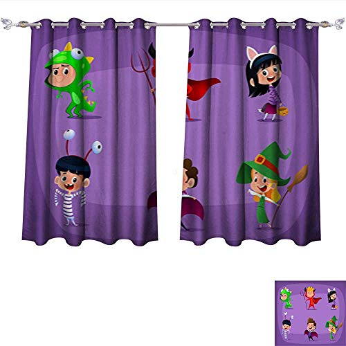 DragonBui Blackout Grommet Curtains Group of Kids in Halloween Costume 3 Layers High Density & Noise Reduction Fabric W55 x L63/Pair -