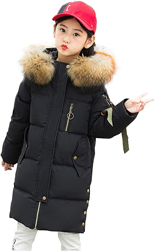 SITENG Girls Kids Winter Hooded Down Coat Puffer Jacket Parka 11 12 Years Padded Overcoat for Big Girls Green