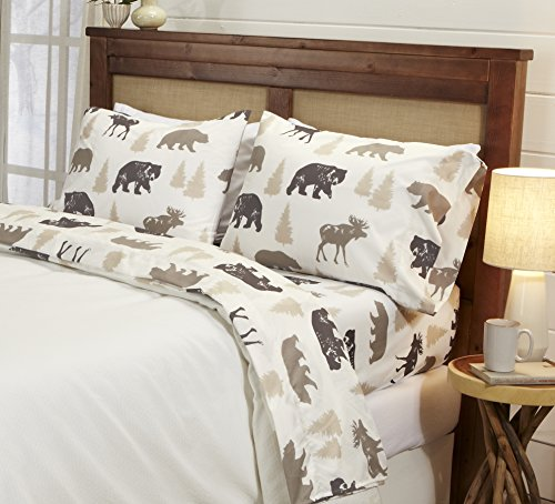 Great Bay Home 4-Piece Lodge Printed Ultra-Soft Microfiber Sheet Set. Beautiful Patterns Drawn from Nature, Comfortable… - LODGE PRINTED PATTERNS: Choose from a variety of beautiful, fade-resistant patterns drawn from the life of the American forest.. Each set comes with 1 fitted sheet, 1 flat sheet and 2 pillowcases (1 for Twin size). HOTEL/SPA QUALITY: These affordable microfiber sheets feel silky smooth against your skin. They're made from 90 GSM material that keeps you cool in the summer and toasty warm in winter. This 100% polyester fabric is WARM, SOFT, FLEXIBLE, and BREATHABLE for maximum sleep comfort. PERFECT FIT EVERY TIME: These DEEP POCKET sheets fit mattresses up to 17 inches deep, with a fully elasticized fitted sheet. They're available in Twin, Full, Queen and King sizes to fit any bed. See below for exact measurements. - sheet-sets, bedroom-sheets-comforters, bedroom - 514QzJD3qsL -
