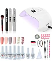 Vishine UV LED Nail Lamp Gel Polish Kit, 40W Gel Nail LED UV Light Base Top Coat 6 Gel Colors Professional Nail Art Manicure Tools