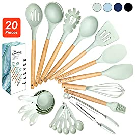 Kitchen Utensils Set – 20 Silicone Cooking Utensils for Non-stick Cookware. Wood Kitchen Utensils. Silicone Spatula…