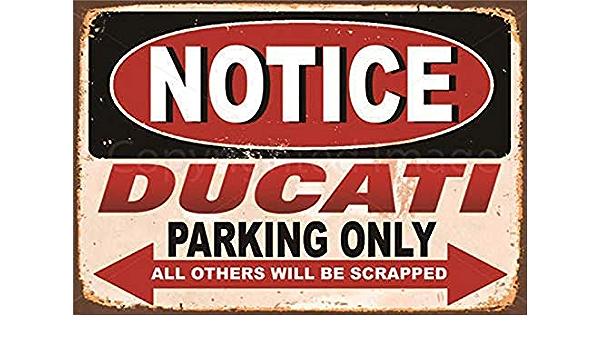 Ducati P/óster de Pared Metal Creativo Placa Decorativa Cartel de Chapa Placas Vintage Decoraci/ón Pared Arte para Carretera Bar Caf/é Tienda