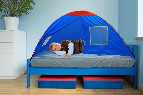 GigaTent Kids Blue Twin Sleep Tent – Use On Top or Off Bed – Easy Setup, 6 Mesh Windows, Fiberglass Poles, Removable Washable Sheet, Folds Flat – Indoors and Outdoors - Twin Top Tent