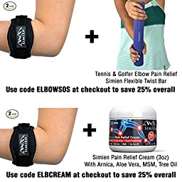SIMIEN Tennis Elbow Brace (2-Count), Tennis & Golfer\'s Elbow Pain Relief with Compression Pad, Wrist Sweatband and E-Book