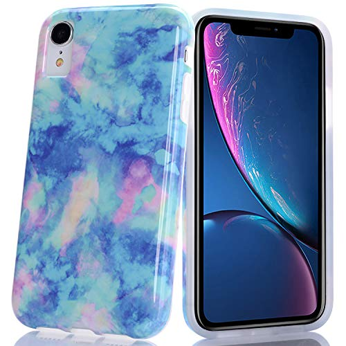 (BAISRKE Light Blue Marble Design Slim Flexible Soft Silicone Bumper Shockproof Gel TPU Rubber Glossy Skin Cover Phone Case for iPhone XR 6.1 inch (2018))