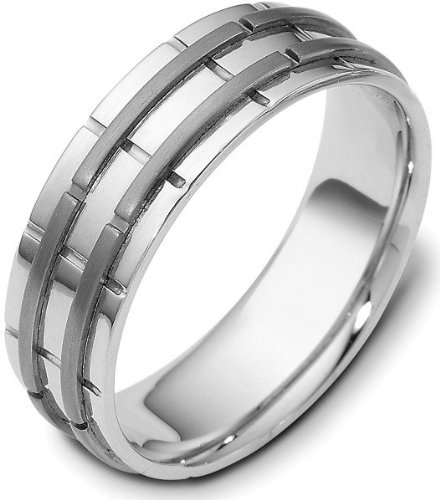 Titanium Ring Dora (7mm Wedding Titanium and Platinum Band Ring - 11)