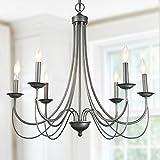 Log BARN 6-Light Antique Silver Pendant Lights Indoor Chandelier Lighting Review