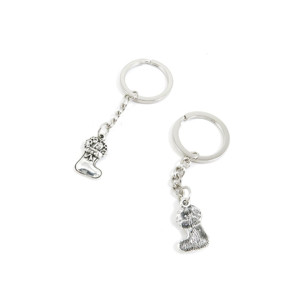 100 Pieces Keychain Door Car Key Chain Tags Keyring Ring Chain Keychain Supplies Antique Silver Tone Wholesale Bulk Lots O1DK6 Christmas Socks