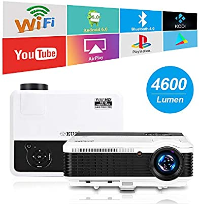 EUG LCD Wireless WiFi HD Projector WXGA Native 4600 Lumens, Bluetooth,  Android, 1080P Supoport, LED Multimedia Smart Home Projectors Outdoor Movie