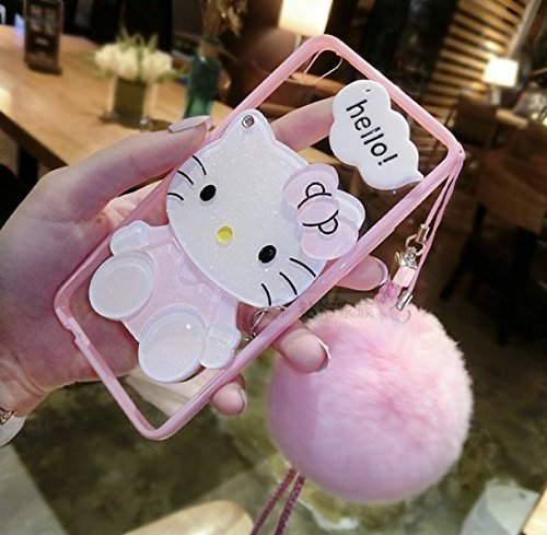 Mirror Cute Case for iPhone Xs XR Casing XS Max Soft Cover Hellokitty Cases TPU
