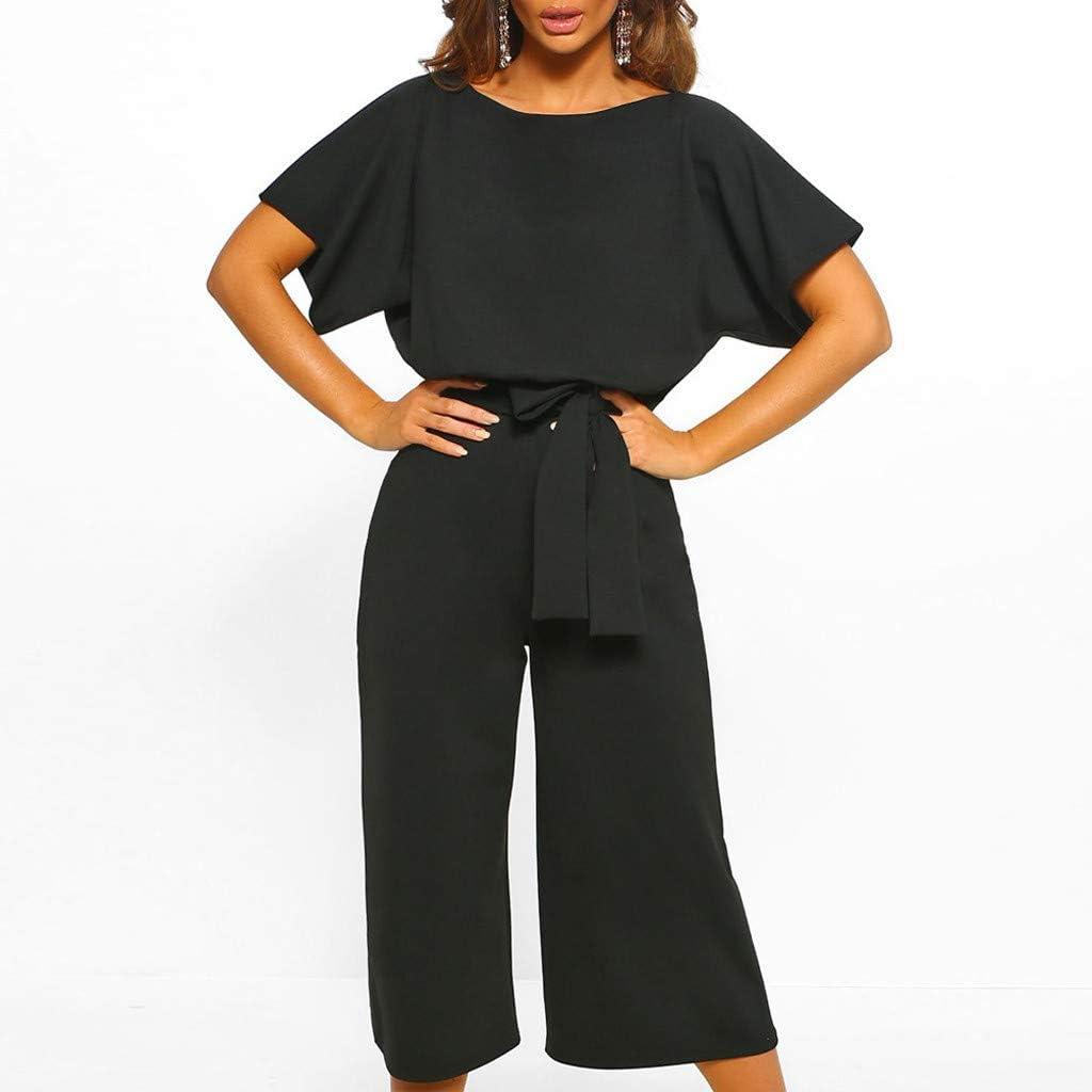 Canifon Women Clubwear Short Sleeve Playsuit Straight Leg Jumpsuit with Belt