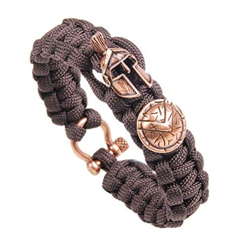 FLORA JEWEL Paracord Survival Bracelets with Spartan Warrior Charm, Tactical Survival Gear for Emergency, Cobra Bracelet for Outdoor, Size Fit for 7 to 8 Inch Wrists (Survival Charm Bracelet)