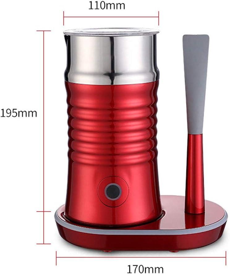 QUANOVO Batidor de Leche eléctrico de 400W 220V Leche Vapor automático Lleno de vaporizador eléctrico para Fresca Caliente de Espuma Suave Ideal para Cappuccino Cafetera Leche más cálido,Rojo: Amazon.es: Hogar