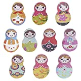 Set of 10 Cartoon Wooden Painted Lapel Pins Russian Doll Brooches Pin Badges for Clothing Bags Backpacks Jackets Hat Decor