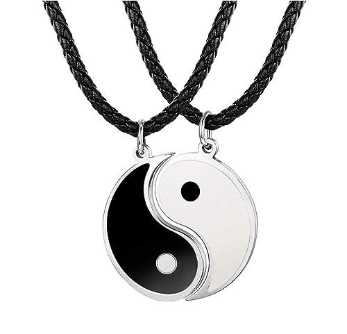 6d2c68fd9ab7 Besteel 3MM Collar Cuero Yin Yang para Hombre Mujer Colgante Taichi Acero  Inoxidable Collar Pareja Cadena Cuero, 56+5CM