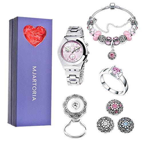 Watch Bracelet Clip - MJARTORIA Pink Rhinestone Wristwatch Charm Bracelet Magnetic Brooch Ring Christmas Jewelry Set