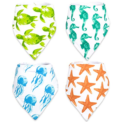 Stadela Baby Adjustable Bandana Drool Bibs with Snaps for Drooling Teething Burp Cloths 4 Pack Baby Shower Gift Set Unisex Boy and Girl - Coral Reef Ocean Sea Beach Summer Tropical Turtle Seahorse Blue Hawaiian Classic Fabric