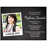 Chalkboard Graduation Invitation, Black, White, Custom Graduation Invite, Chalkboard, Commencement, High School, College, Graduate, Set of 10 Custom Printed Graduation Invites with Envelopes