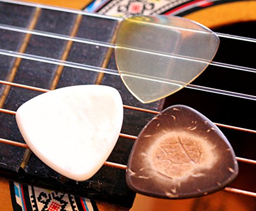 Set of 3 Natural Organic Guitar Picks - Buffalo Horn, Buffalo Bone, Coconut Shell