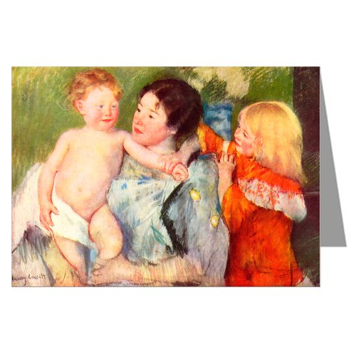 Celebrate Mothers with these 6 Vintage Greeting Cards of Mary Cassatt Impressionist Painting After The Bath 1901