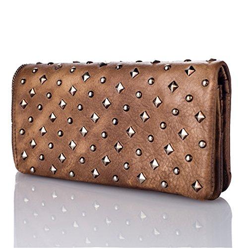 8146 Brieftasche Damenbörse Vollnarben Mode Braun Frauen Leder Bvane x8xf6