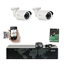GW Security 8 Channel 5MP NVR 1536P HD IP Network POE Security System - Two 3MP (2048 x 1536) Weatherproof Bullet Cameras