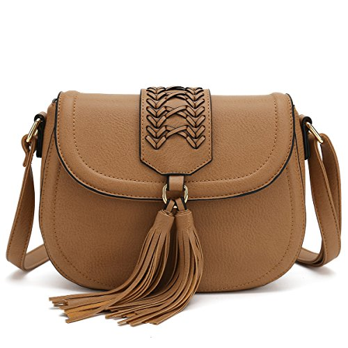 Handbag Woven Tan (Saddle Bag With Tassel Crossbody Purses For Women Small Ladies Designer Handbag (Light Brown))