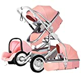 Echaprey Luxurious Anti-Shock Infant Baby Stroller Foldable Anti-Shock Newborn Stroller Bassinet with Safety Seat (Pink)