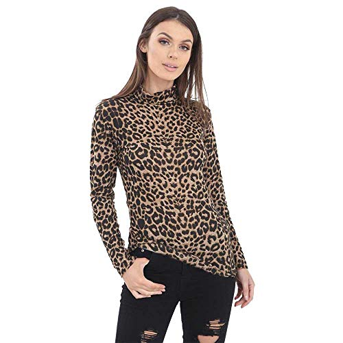 Thever Women Ladies Long Sleeve Leopard Print Turtleneck Top Shirt (Brown, X/L-US(14-16))